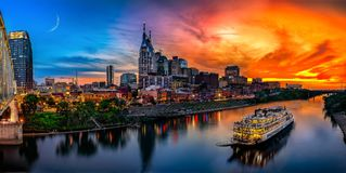Nashville Skyline with sunset. Nashville skyline taken with drone during sunset Royalty Free Stock Photography