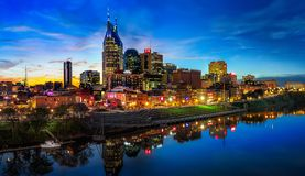 Nashville Skyline with sunset. Nashville skyline taken early in the morning with sunrise Royalty Free Stock Images