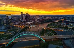 Nashville Skyline with sunset. Nashville skyline taken during a sunset with the drone Stock Photo