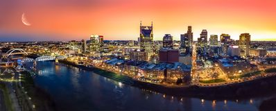 Nashville Skyline with sunset. Nashville skyline taken early in the morning with moon and sunset Stock Images