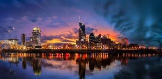 Nashville Skyline with sunset. Nashville skyline taken during the blue hour royalty free stock images