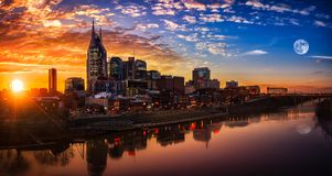 Nashville Skyline with sunset. Nashville skyline taken early in the evening with moon and sunset Stock Photo