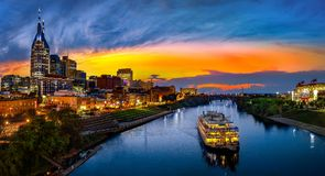 Nashville Skyline in the morning. Nashville skyline taken early in the morning with moon at sunset Royalty Free Stock Images