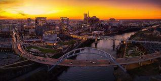 Nashville Skyline with sunset. Nashville skyline taken during sunset with a drone Stock Photos