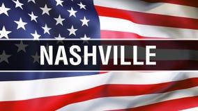 Nashville-Stadt auf einem USA-Flaggenhintergrund, Wiedergabe 3D Staaten von Amerika fahnenschwenkend im Wind Stolze amerikanische stock abbildung