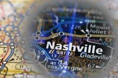 Nashville sulla mappa - eclissi Immagine Stock Libera da Diritti