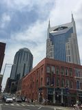Nashville,Tenessee, USA. Downtown area along Broadway showing architectural contrast of styles and materials Stock Photos