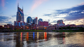 Nashville, Tennessee Cityscape Skyline Across The Cumberland Riv Stock Images