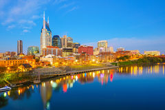 Nashville, Tennessee downtown skyline. With Cumberland River in USA Stock Images