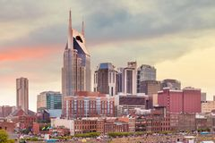 Nashville, Tennessee downtown skyline. At twilight stock photography