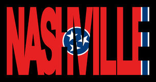 Nashville with Tennessee flag Stock Photography