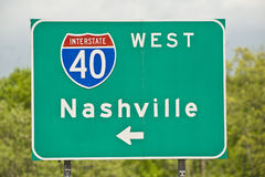 Nashville Tennessee Road Sign. A Nashville Tennessee road sign on Interstate 40 Royalty Free Stock Image