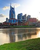 Nashville Tennessee skyline from Cumberland Park. Nashville, Tennessee, USA downtown skyline on the Cumberland River royalty free stock photography