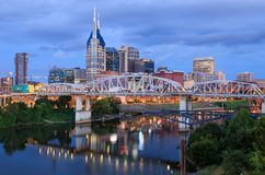Nashville Tennessee Skyline Daybreak Blue Hour stock fotografie