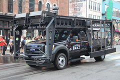 Nashville Tennessee - SWAT unit. Tennessee USA - famous Broadway street at the beginning of the parade opening the CMA festival 2013. Police showing theior Stock Image
