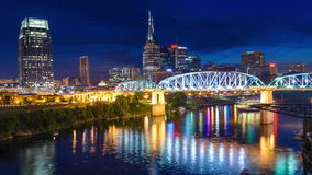 Nashville, Tennessee, USA City Skyline. Nashville, Tennessee, USA downtown city skyline on the Cumberland River stock footage