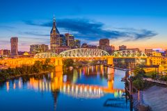 Nashville, Tennessee, USA Skyline at Dusk. Nashville, Tennessee, USA downtown city skyline on the Cumberland River at dusk Royalty Free Stock Photos