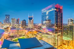 Nashville, Tennessee, USA. Downtown city skyline rooftop view at dusk stock image