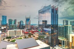 Nashville, Tennessee, USA. Downtown city skyline rooftop view at dusk royalty free stock photos