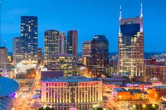 Nashville, Tennessee, USA. Downtown city skyline rooftop view at dusk stock photos