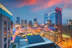 Nashville, Tennessee, USA downtown cityscape at dusk. Nashville, Tennessee, USA downtown cityscape rooftop view at dusk stock photography