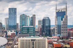 Nashville, Tennessee, USA downtown cityscape. Rooftop view in the afternoon royalty free stock photo