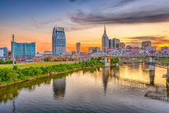 Nashville, Tennessee, USA. Downtown city skyline on the Cumberland River royalty free stock images