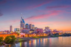 Nashville, Tennessee, USA Skyline on the River. Nashville, Tennessee, USA downtown city skyline on the Cumberland River stock photo