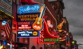 Neon Lights on the Nashville Broadway Strip. NASHVILLE, TN - OCT 8: Neon signs light the strip along Broadway on October 8, 2017 in Nashville, Tennessee, USA stock photos