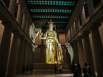 Nashville, TN USA - Centennial Park The Parthenon Replica Giant Statue of Athena with Nike. Nashville, TN USA - 06/17/2014 - Centennial Park The Parthenon royalty free stock photo