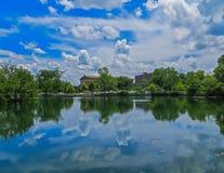 Nashville, TN USA - Centennial Park The Parthenon Replica Reflection in the Lake. Nashville, TN USA - 06/17/2014 - Centennial Park The Parthenon Replica Stock Image