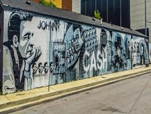 Nashville TN USA - Johnny Cash Street Mural royaltyfri bild