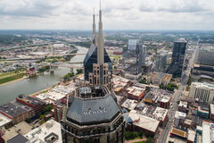 Aerial drone shot Nashville Wework Tower. NASHVILLE, TN, USA - SEPTEMBER 7, 2017: Aerial image of the Nashville Wework Tower near the Cumberland River Royalty Free Stock Photos
