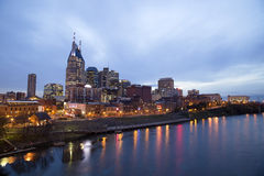 Nashville at twilight and lights on water Royalty Free Stock Photo