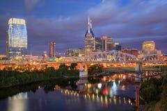 Nashville van de binnenstad Tennessee Skyline Blue Hour royalty-vrije stock afbeelding