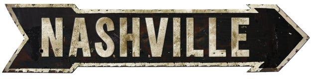 Nashville Vintage Roadsign. Nashville vintage road sign arrow tin grunge black rusted rustic old retro style royalty free illustration