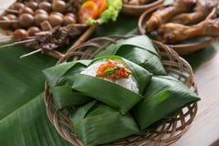 Nasi angkringan ή nasi ινδονησιακός παραδοσιακός Στοκ Εικόνα