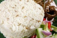 Nasi dagang, a popular Malaysian meal on the east coast of the Malaysian Peninsular.  Stock Photo