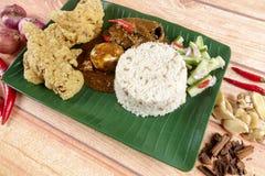 Nasi dagang, a popular Malaysian meal on the east coast of the Malaysian Peninsular.  Royalty Free Stock Photography