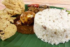 Nasi dagang, a popular Malaysian meal on the east coast of the Malaysian Peninsular.  Stock Images