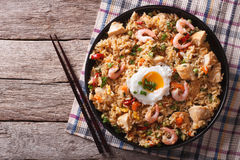 Nasi goreng with chicken, prawns, egg and vegetables horizontal Stock Photography