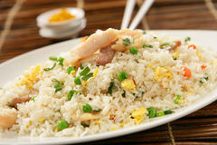 Nasi goreng with pork stripes Stock Photos