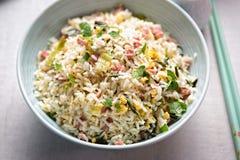Nasi-Goringreis Gebratener Reis der indonesischen Art mit Schweinefleisch, Ei und Porree Lizenzfreie Stockfotos
