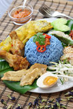 Nasi kerabu, blue color rice salad, malaysian cuisine Royalty Free Stock Images