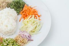 Nasi kerabu or kao yum, Southen Thai-Style rice Stock Photo