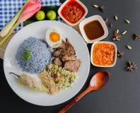 Free Nasi Kerabu, You Choose Your `Toppings` Stock Photo - 196596280