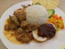马来西亚传统Nasi Le Mak混合了椰子米 免版税库存照片