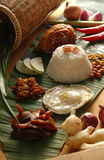 Nasi Lemak. A Malaysian coconut rice with some hot and spicy food Stock Images