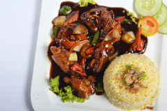 Nasi lemak, asiatiskt traditionellt rismål Royaltyfria Bilder