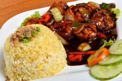 Nasi lemak, asiatiskt traditionellt rismål Arkivbild